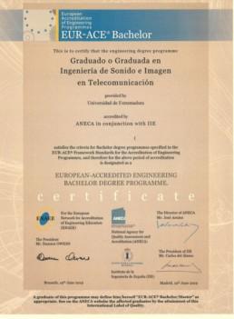 Sello EUR-ACE Grado Ingeniero de Sonido e Imagen en Telecomunicación